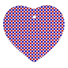 Blue Red Checkered Ornament (Heart)