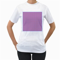 Blue Red Checkered Women s T-Shirt (White) (Two Sided)