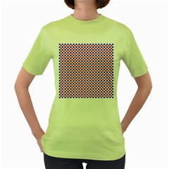 Blue Red Checkered Women s Green T-Shirt