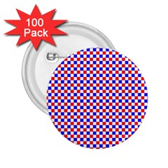 Blue Red Checkered 2.25  Buttons (100 pack)