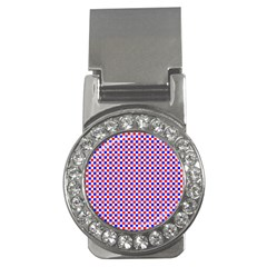 Blue Red Checkered Money Clips (CZ)