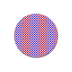 Blue Red Checkered Magnet 3  (Round)