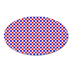 Blue Red Checkered Oval Magnet