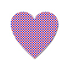 Blue Red Checkered Heart Magnet