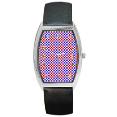 Blue Red Checkered Barrel Style Metal Watch