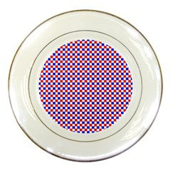 Blue Red Checkered Porcelain Plates