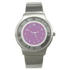 Blue Red Checkered Stainless Steel Watch