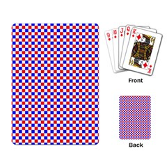 Blue Red Checkered Playing Card