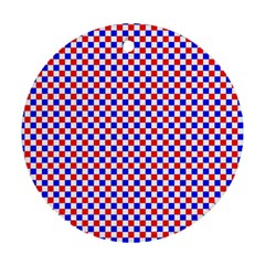 Blue Red Checkered Round Ornament (Two Sides)