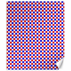 Blue Red Checkered Canvas 8  x 10