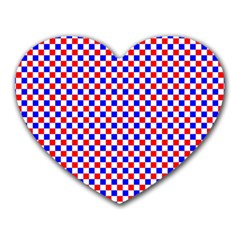 Blue Red Checkered Heart Mousepads