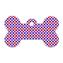 Blue Red Checkered Dog Tag Bone (One Side)