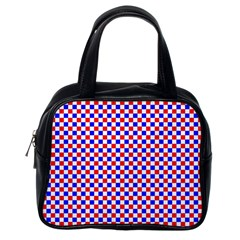 Blue Red Checkered Classic Handbags (One Side)