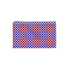 Blue Red Checkered Cosmetic Bag (Small)