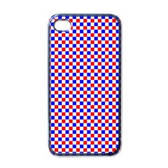 Blue Red Checkered Apple iPhone 4 Case (Black)