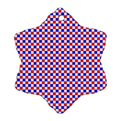 Blue Red Checkered Ornament (Snowflake)