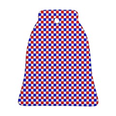 Blue Red Checkered Bell Ornament (Two Sides)