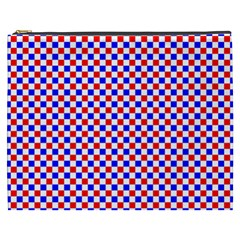 Blue Red Checkered Cosmetic Bag (XXXL)
