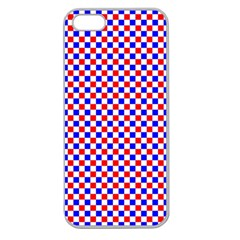 Blue Red Checkered Apple Seamless iPhone 5 Case (Clear)