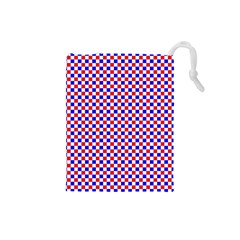 Blue Red Checkered Drawstring Pouches (Small)
