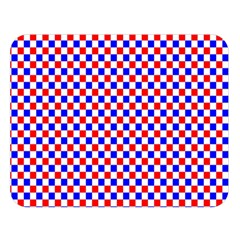 Blue Red Checkered Double Sided Flano Blanket (Large)