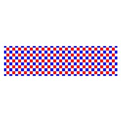 Blue Red Checkered Satin Scarf (Oblong)