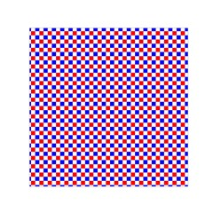 Blue Red Checkered Small Satin Scarf (Square)