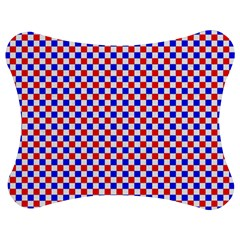 Blue Red Checkered Jigsaw Puzzle Photo Stand (Bow)