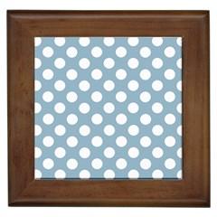 Blue Polkadot Background Framed Tiles