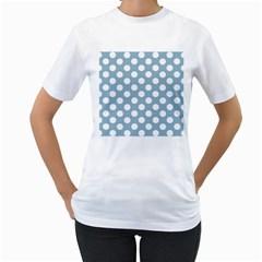 Blue Polkadot Background Women s T-Shirt (White) (Two Sided)