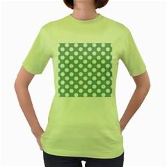 Blue Polkadot Background Women s Green T-Shirt