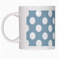 Blue Polkadot Background White Mugs