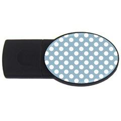 Blue Polkadot Background USB Flash Drive Oval (4 GB)