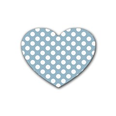Blue Polkadot Background Rubber Coaster (Heart)