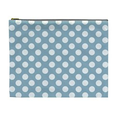 Blue Polkadot Background Cosmetic Bag (XL)