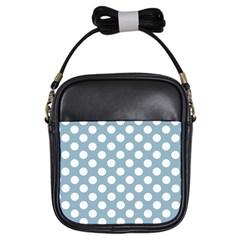 Blue Polkadot Background Girls Sling Bags