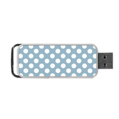Blue Polkadot Background Portable USB Flash (Two Sides)
