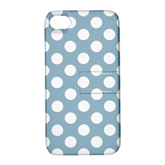 Blue Polkadot Background Apple iPhone 4/4S Hardshell Case with Stand