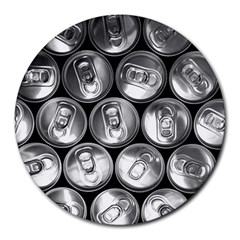Black And White Doses Cans Fuzzy Drinks Round Mousepads