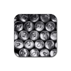 Black And White Doses Cans Fuzzy Drinks Rubber Coaster (Square)