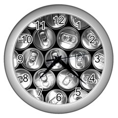 Black And White Doses Cans Fuzzy Drinks Wall Clocks (Silver)