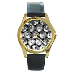 Black And White Doses Cans Fuzzy Drinks Round Gold Metal Watch