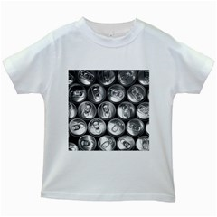 Black And White Doses Cans Fuzzy Drinks Kids White T-Shirts