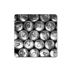 Black And White Doses Cans Fuzzy Drinks Square Magnet