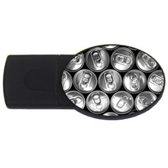 Black And White Doses Cans Fuzzy Drinks USB Flash Drive Oval (2 GB)
