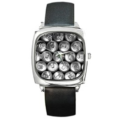 Black And White Doses Cans Fuzzy Drinks Square Metal Watch