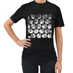 Black And White Doses Cans Fuzzy Drinks Women s T-Shirt (Black) (Two Sided)