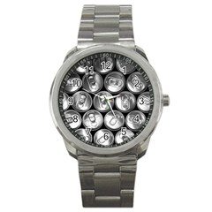 Black And White Doses Cans Fuzzy Drinks Sport Metal Watch