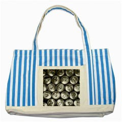 Black And White Doses Cans Fuzzy Drinks Striped Blue Tote Bag