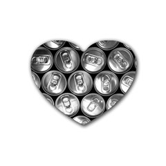 Black And White Doses Cans Fuzzy Drinks Rubber Coaster (Heart)